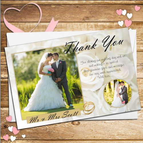 10 Personalised White Roses Wedding Thank you PHOTO cards N217
